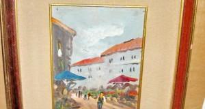 Tablou vechi cu placheta si semnatura Cortese in stil impressionist.