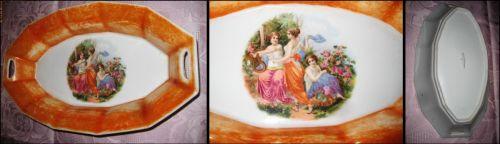 Platou antic portelan pt salate cu scena epoca 3 femei.