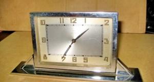 Ceas vechi Artdeco Haller Germany DRP, functional. Perioada nterbelica, sistem culisabil, metal crom