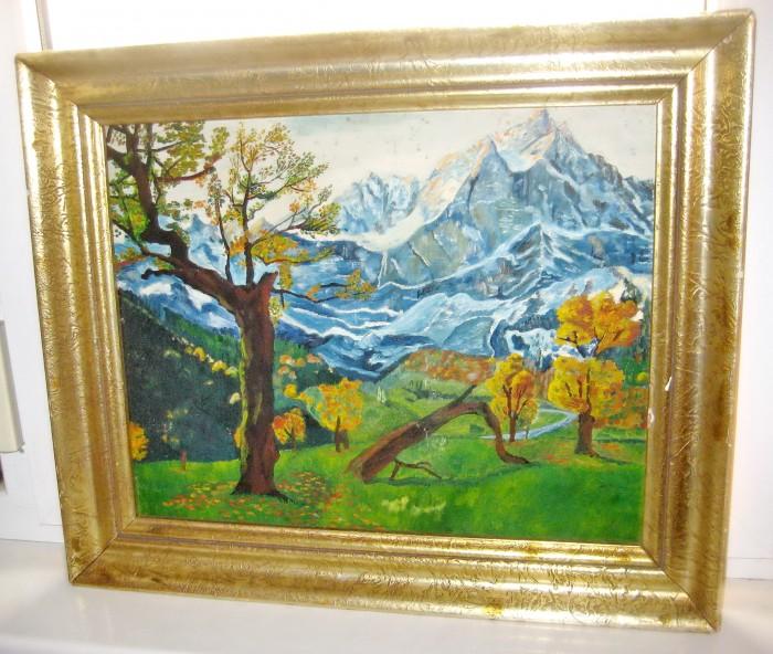 Tablou cu frumos peisaj de munte gen austriac stare buna. Ulei pe placaj.