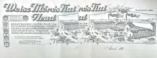 1864-I-Fabrica Bauturi Weisz Mores Fiai Arad 1900-Reclama veche.