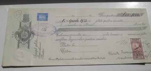 586- Polita bancara-Cambie-Bancile Banatene Unite SA ARAD. 1 Aprilie 1932- Banater Bankverein A.G.