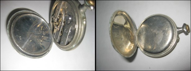 Ceas Buzunar vechi buzunar barbatesc cu cadran portelan nefunctional.