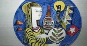 Platou Egiptean Vintage portelan-25 SPHYNX-1959-Ceramique 100. Olanda