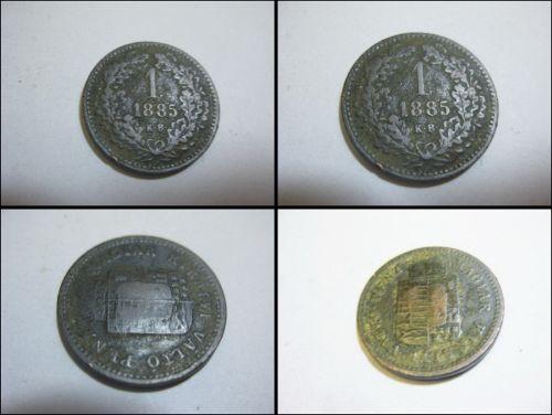 Ungaria 1 valdo pengo 1885-kb, metal, 2 cm. Stare buna, in patina timpului, poze mai nereusite.
