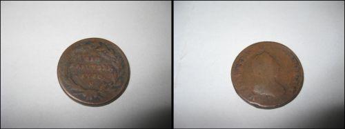 Moneda veche Austria1 kreutzer 1780, bronze, 2.2cm.