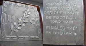Placheta fotbal Cheminots-Bulgaria 1959-1961. st. buna. Alama- alpaca argintata. Inaltime 6.5, latim