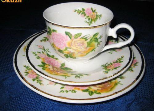 122A-Set servit cafea-ceai 1 persoana portelan desing floral trandafir