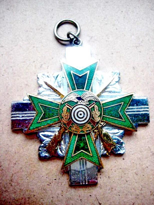 7737-Medalia vanator Vultur pe tinta Tir Jurgen Korner 1987.