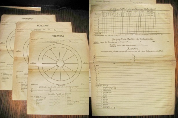 Formular Horoscop vechi hartie anii 1940 hartie.