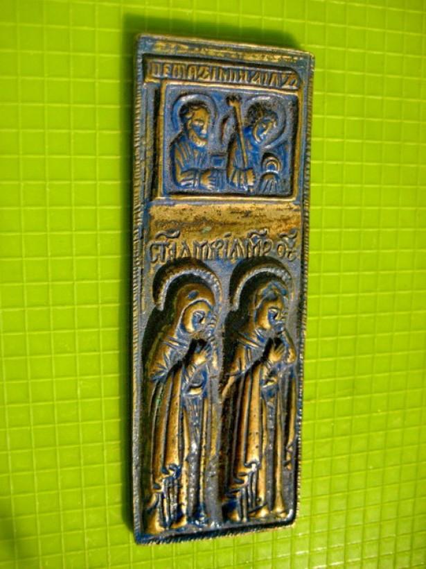 9367-Icoana mica Rusia probabil Apostolii Petru si Pavel si 2 Sfinte.