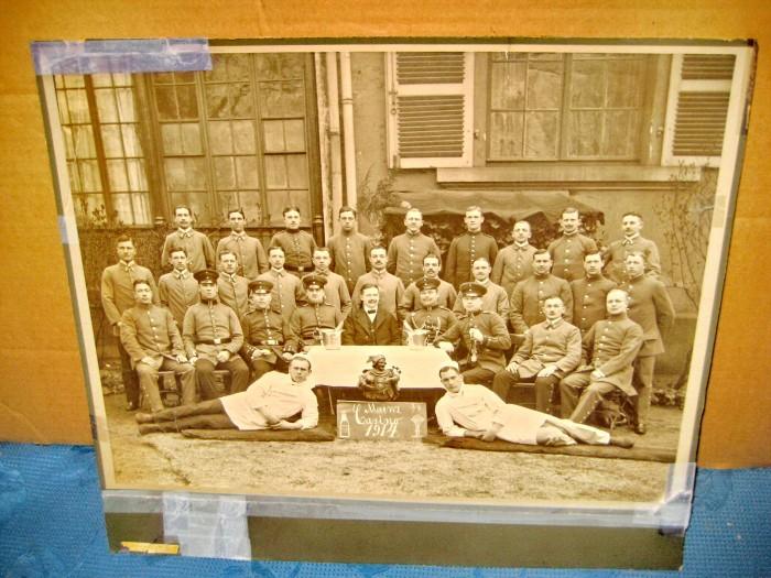 1204-WW1-Foto militari grup Casino Mainz 1914 scrisa spate.