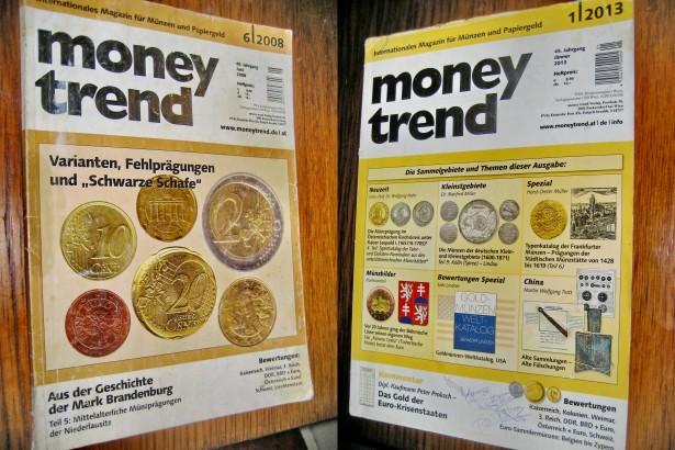 2 Reviste Money Trend Licitatii Monede vechi 2008 2013.