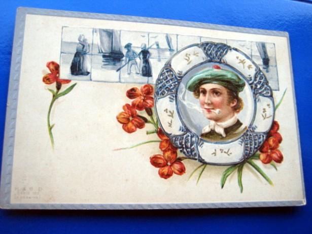 CP marinar cu pipa in colac carte postala veche anii 1900 st. buna.