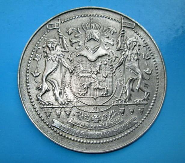 5152-Medalia Edmund Leburton Belgia in metal alb. Politician.