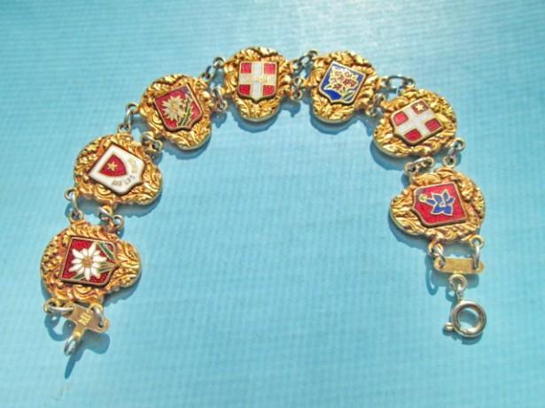 5388-Bratara veche Elvetia marcata AA IZOR aurita si emailata.