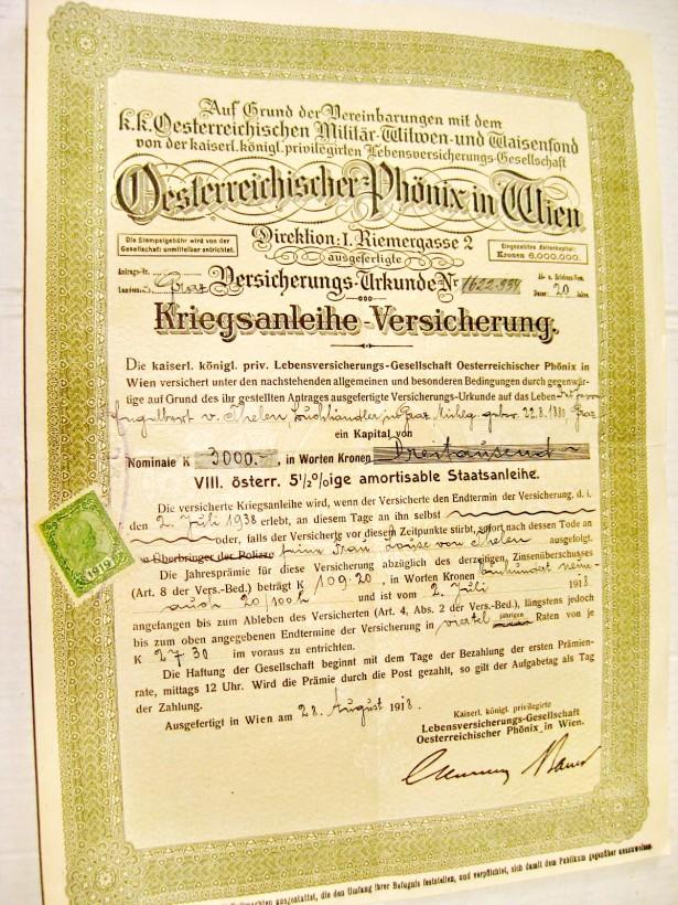 B324-I-Banca Phonix Viena Austria 1918. Asigurari.
