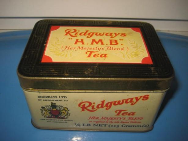 6149-Cutie Ceai veche metal RIDGWAYS England anii 1900-1930.