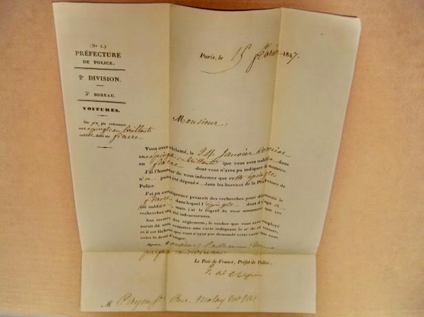 B689-Scrisoare veche 1847 Prefectura Politia Paris cu semnatura.