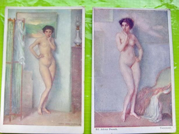 B763-2 Nuduri vechi carti postale interbelice E. A. Dussek Ungaria.