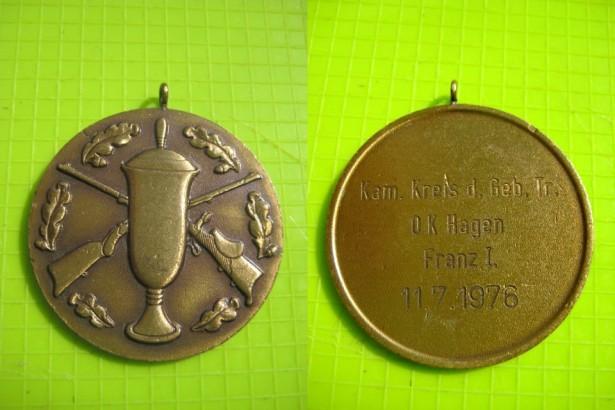 8495A- Medalia Tir-Vanator D.K. Hagen Franz1 1976 cca 4 cm.