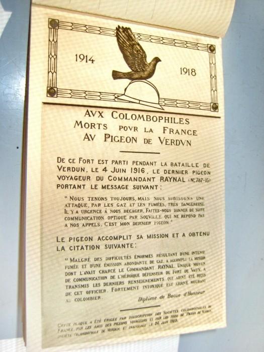 C20-Columbofilia-Porumbeii morti Verdun Vaux 1914-18.