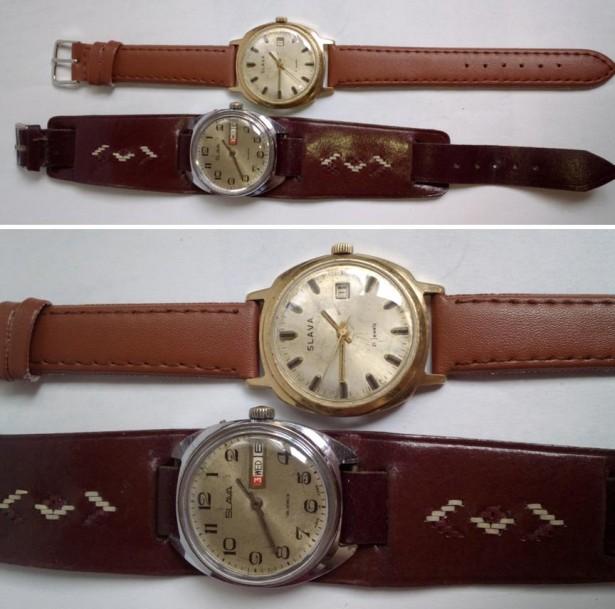 2 ceasuri barbatesti Slava, cal. 2414 si 2428, anii `80, functionale