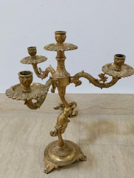 Set sfeșnice antice in stilul Art-Deco din bronz masiv