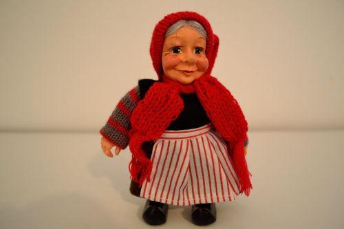 Figurina bunicuta bunica ceramica imbracata traditional din Danemarca