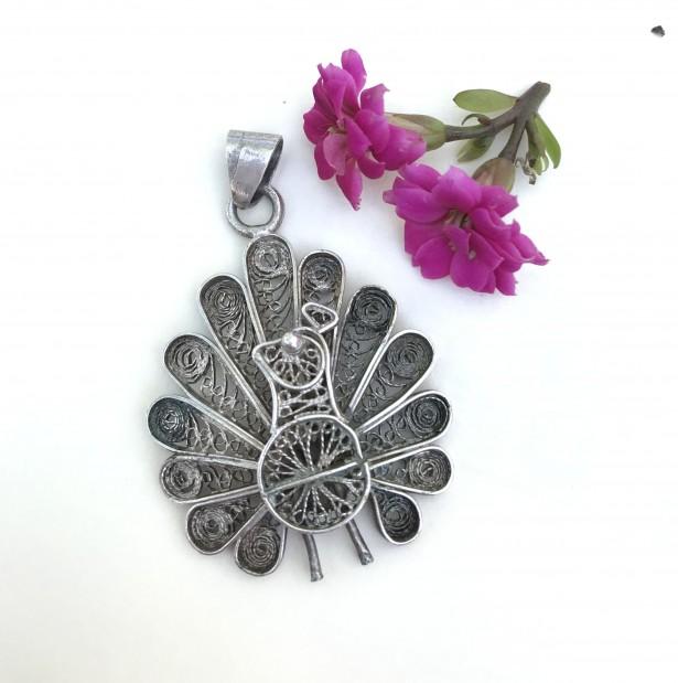 Pandantiv argint paun filigran