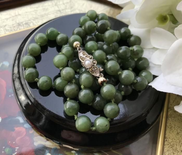 Colier jad argint perla marcasite