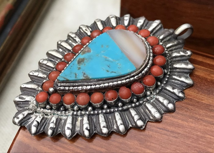 Pandantiv argint coral sidef turcoaz