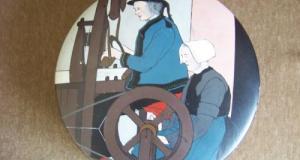 Caseta lemn cu pictura ,semnata