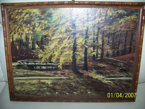 tablou pictura manuala in ulei semnata- 38 28 cm