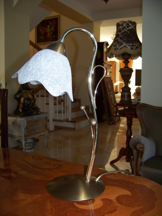 lampa fina cromata  cu abajur sticla mata-40 cm