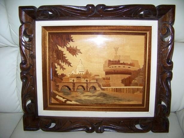 tablou intarsii lemn,rama sculptata 38-33 cm