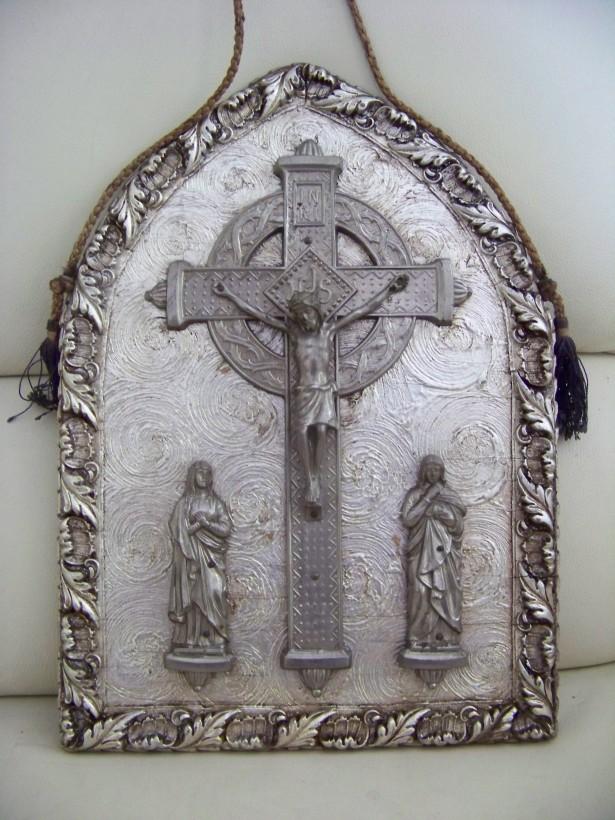icoana antica metal 38-28 cm