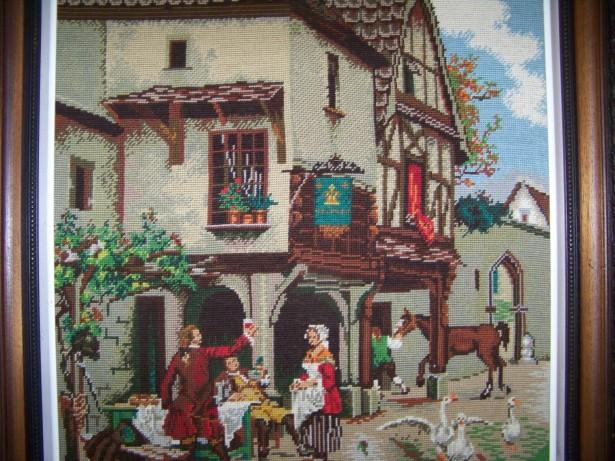 tablou  87-75 cm goblen rama lemn sculptata