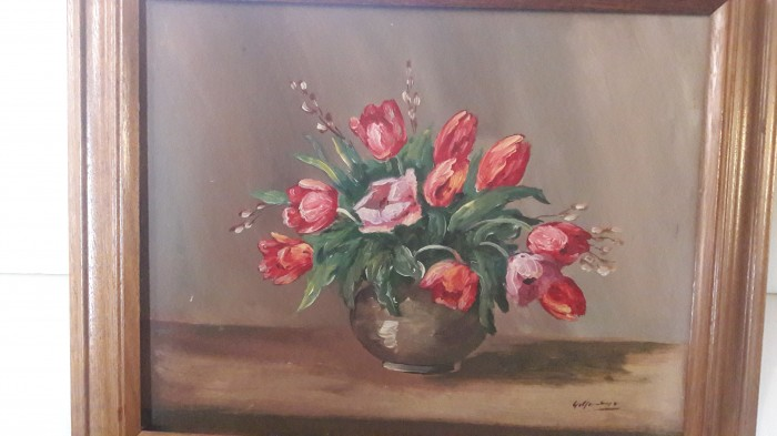 tablou 65-55 cm-lalele pictura pe panza semnata