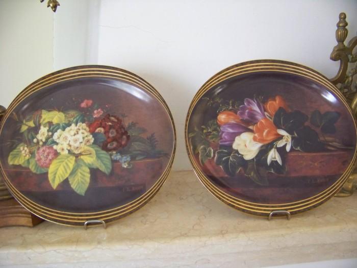 2 farfurii decorative ovale  reprod Jensen