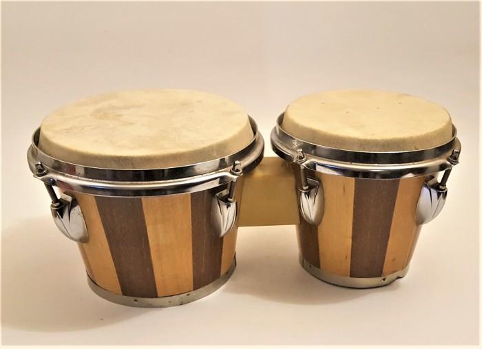 Set de tobe Bongo cu 2 sunete, Diametru 19 si 16 cm
