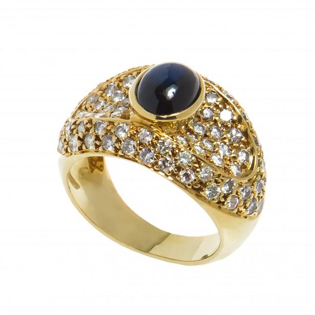 Inel din aur 18K cu safir cabochon si diamante naturale
