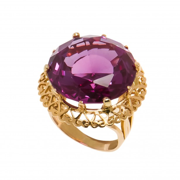 Inel din aur galben 18K, ornamentat cu alexandrit
