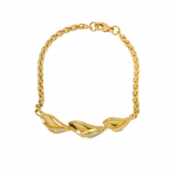 Bratara din aur galben 18K, model vegetal, cu diamante naturale