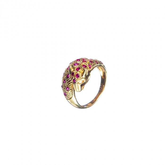 Inel Leopard din aur galben 18K cu rubine si diamante