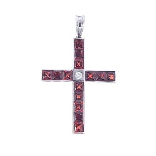 Crucifix din aur alb 14K cu granat si diamant, PAU79