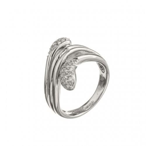 Inel din aur alb 18K cu diamante, model Sarpe