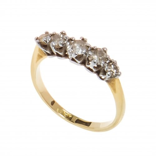 Inel din aur galben 18K si platina cu 5 diamante, IAU328