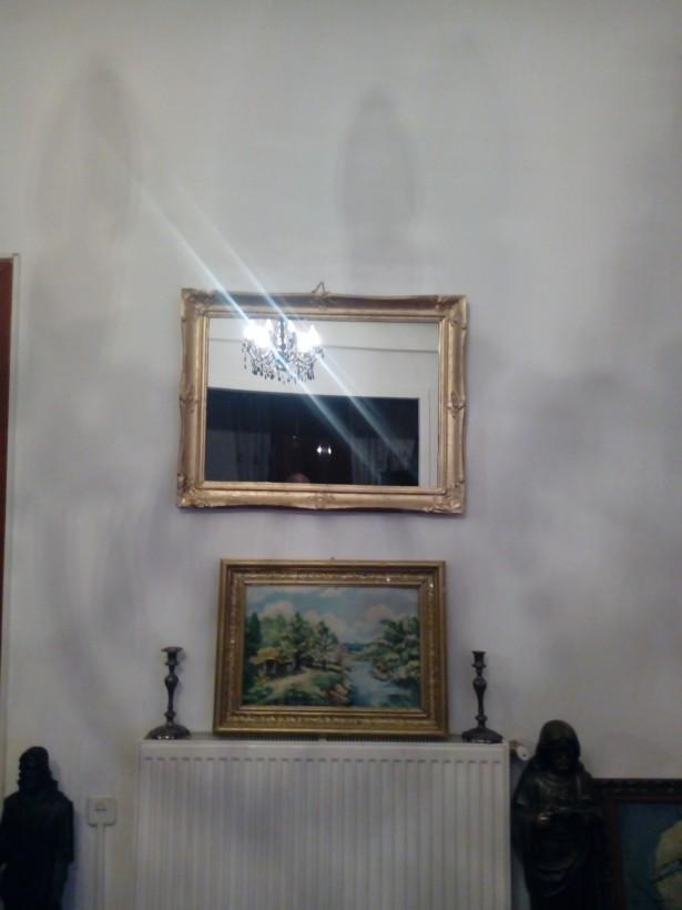 Oglinda veche lemn  si cristal 83x63cm