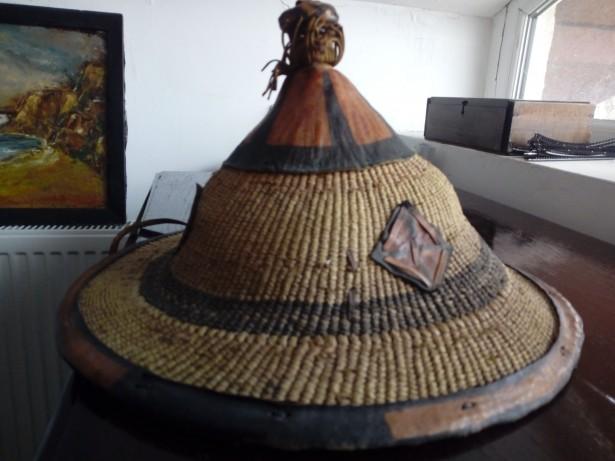 Palarie piele si paie Senegal handmade